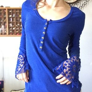 Free People Tops - Free People Power Blue Lace Sleeve Top
